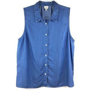 A New Day Blue Chambray Sleeveless Shirt XXL